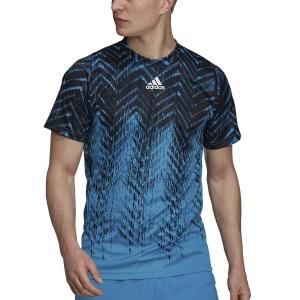 Camisetas de Tenis Hombre adidas Freelift Primeblue Camiseta  Sonic Aqua/Black GT7817