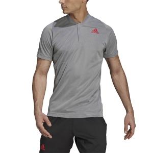 Men's Tennis Polo adidas Freelift Primeblue Polo  Light Grey/Scarlet GK9646