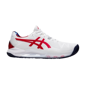 Men`s Tennis Shoes Asics Gel Resolution 8 Clay L.E.  White/Classic Red 1041A293110