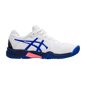 Junior Tennis Shoes Asics Gel Resolution 8 Clay GS Junior  White/Lapis Lazuli Blue 1044A019107
