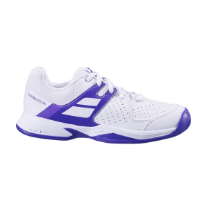 Scarpe Tennis Junior Babolat Pulsion All Court Wimbledon Bambini  White/Purple 33S205591046