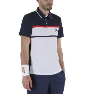 Polo Tennis Uomo Fila Anton Polo  White/Peacoat Blue FBM211010E004