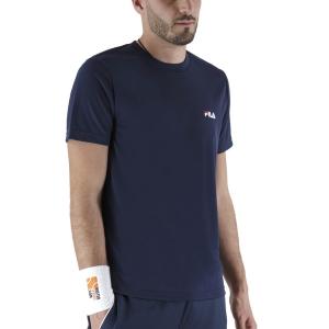 Maglietta Tennis Uomo Fila Logo Small Maglietta  Peacoat Blue FLM142020100