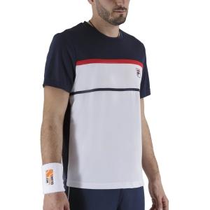 Maglietta Tennis Uomo Fila Steve Maglietta  White/Peacoat Blue FBM211013E004