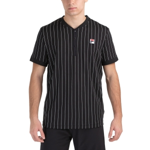 Men's Tennis Shirts Fila Stripes Button TShirt  Black/White FRM212211901