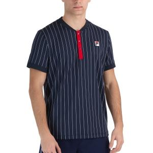 Men's Tennis Shirts Fila Stripes Button TShirt  Peacoat Blue/White FRM212211101