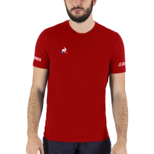 Men's Tennis Shirts Le Coq Sportif Logo TShirt  Pur Rouge 2020721