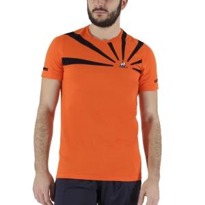 Men's Tennis Shirts Le Coq Sportif Performance Pro TShirt  Orange/Sky Captain 2110719