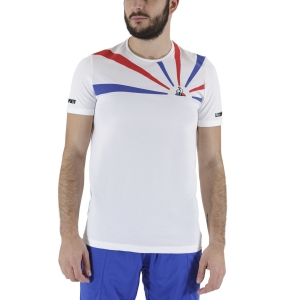 Men's Tennis Shirts Le Coq Sportif Performance Pro TShirt  New Optical White/Cobalt 2011175