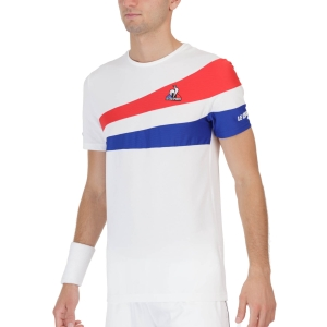 Men's Tennis Shirts Le Coq Sportif Performance TShirt  New Optical White/Blue Electro 2120780