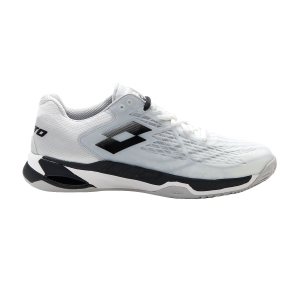 Men`s Tennis Shoes Lotto Mirage 100 Clay  All White/All Black/Silver Metal 2 2107311EM