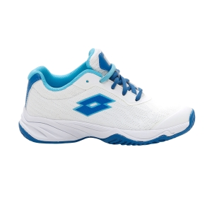 Scarpe Tennis Junior Lotto Mirage 600 All Round Bambini  All White/Mykonos Blue/Scuba Blue 2156317FT