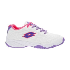 Scarpe Tennis Junior Lotto Mirage 600 All Round Bambina  All White/Bellflower/Neon Magenta 2156317G4