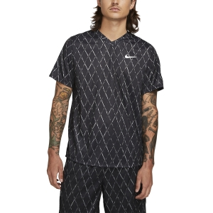 Maglietta Tennis Uomo Nike Court DriFIT Victory Print Maglietta  Black/White DA4366010