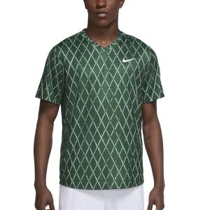 Maglietta Tennis Uomo Nike Court DriFIT Victory Print Maglietta  George Green/White DA4366341