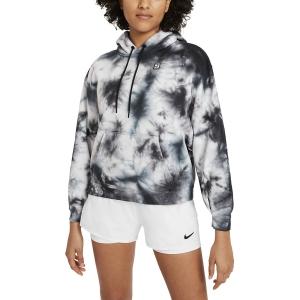 Women's Tennis Shirts and Hoodies Nike Court TieDye Hoodie  White/Black DC7447100