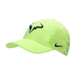 Tennis Hats and Visors Nike Court Rafa Aerobill H86 Cap  Lime Glow/Obsidian 850666345