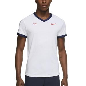 Camisetas de Tenis Hombre Nike DriFIT ADV Rafa Camiseta  White/Binary Blue/Chile Red CV2802101