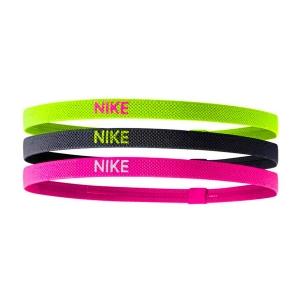 Tennis Headbands Nike Court x 3 Headbands  Volt/Black/Pink N.JN.04.983.OS