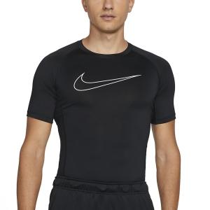 Men's Tennis Shirts Nike Pro Logo TShirt  Black/White DD1992010