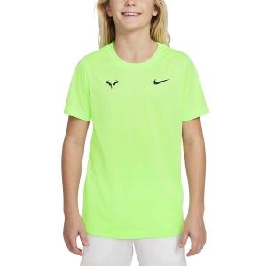 Tennis Polo and Shirts Nike Rafa TShirt Boy  Lime Glow/Obsidian DD2304345
