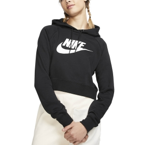 Maglie e Felpe Tennis Donna Nike Sportswear Essential Felpa  Black/White CJ6327010