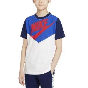 Polo y Camisetas de Tenis Nike Sportswear Camiseta Nino  White/Blue Void DC7511103