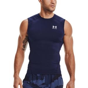 Camisetas de Tenis Hombre Under Armour HeatGear Compression Top  Midnight Navy/White 13615220410