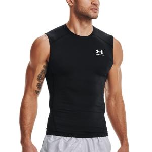 Camisetas de Tenis Hombre Under Armour HeatGear Compression Top  Black/White 13615220001