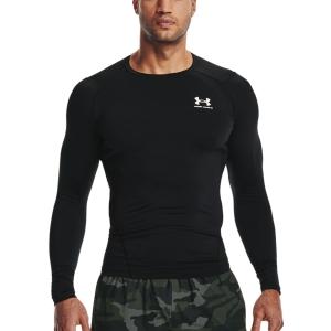 Men's Tennis Shirts and Hoodies Under Armour HeatGear Compression Shirt  Black/White 13615240001
