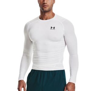 Men's Tennis Shirts and Hoodies Under Armour HeatGear Compression Shirt  White/Black 13615240100
