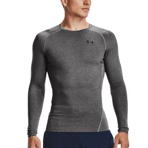 Men's Tennis Shirts and Hoodies Under Armour HeatGear Compression Shirt  Carbon Heather/Black 13615240090