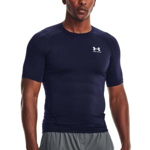 Camisetas de Tenis Hombre Under Armour HeatGear Compression Camiseta  Midnight Navy/White 13615180410