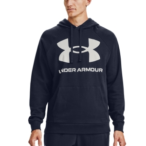 Men's Tennis Shirts and Hoodies Under Armour Rival Big Logo Hoodie  Midnight Navy/Onyx White 13570930410