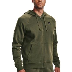 Men's Tennis Shirts and Hoodies Under Armour Rival Fleece Full Zip Hoodie  Marine OD Green/Onyx White 13571110390