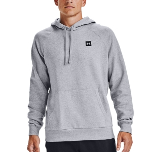 Men's Tennis Shirts and Hoodies Under Armour Rival Fleece Hoodie  Mod Gray Light Heather/Onyx White 13570920011