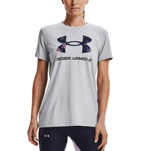 Women`s Tennis T-Shirts and Polos Under Armour Sportstyle Graphic TShirt  Mod Gray Light Heather/Midnight Navy 13563050017