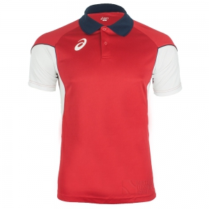 Men's Asics Apparel Asics Vole Polo  Red/White T267Z7.2601