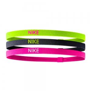 Tennis Head and Wristbands Nike Elastic Hairband x 3  Volt/Black/Pink N.JN.04.983.OS